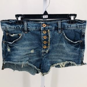 Free People Distressed Cut-Off Button-Fly Shorts